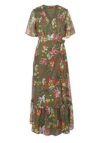 s.Oliver Damen lang Kleid, Olive AOP, 42