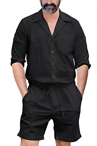 Runcati Mens Romper Jumpsuit Long Sleeve Drawstring Shorts Casual Playsuit Black 3XL Coverall with Pockets