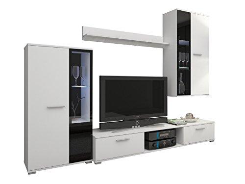 Wohnwand Salsa, Design Mediawand, Modernes Wohnzimmer Set, Anbauwand, Hängeschrank, Vitrine, TV Lowboard, (Weiß, mit Blauer LED Beleuchtung)