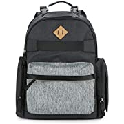 Eddie Bauer Places & Spaces Stowaway Diaper Bag Backpack, Dark Grey