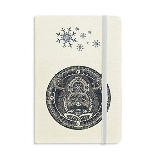 Notizbuch mit Kompass, Kreis, Kunstmuster, dickes Tagebuch, Schneeflocken, Winter