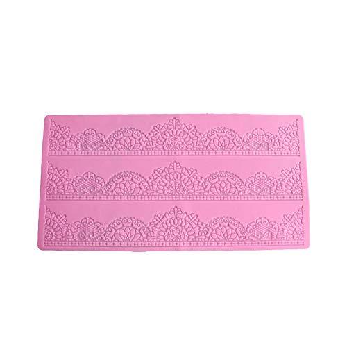 TOPofly Kuchen-Form-Silikon Formen Spitze Prägung Verzierung Kuchen-Form-Brot-Schokoladen-Form für Backen Pink (50-199) 1PC