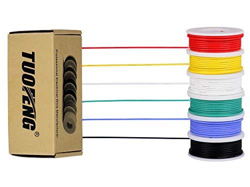 Alambre eléctrico de calibre 30, kit de alambre coloreado Alambre de silicona flexible 30 AWG (6 carretes de 20 metros diferentes de color) Cable de electrónica de 60V