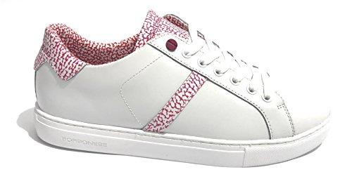 Borbonese Scarpe Donna Sneaker in Pelle Bianco/OP Fuxia DS18BO06