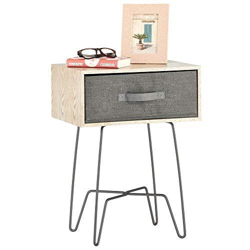 mDesign Mesita auxiliar de madera y metal pequeña – Elegante mesa auxiliar...