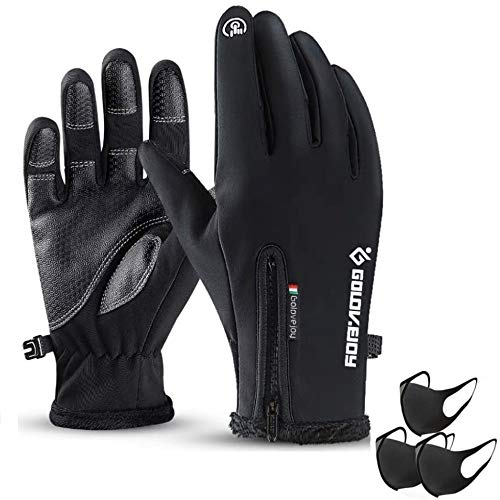Cycling Gloves,Mesuyoku Winter Warm Gloves Screen Touch Recognition Gloves Water Resistant Windproof Cold Weather Sports Gloves for Man&Woman Outdoor Exercise,Skiing,Running,Cycling,Hiking etc. (Black, L)