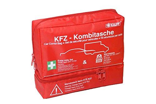 Kalff KFZ Kombitasche TRIO Compact, Verbandstasche Auto + Warnweste + Warndreieck NANO mit Erste Hilfe Broschüre