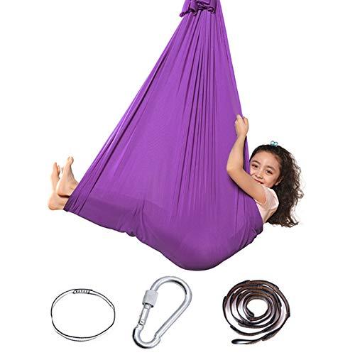 Draftor Therapie Schaukel für Kinder und Jugendliche, Kuschelige Weiche Hängematte, Hängesessel, Bett für Kinder, Yoga, Sensorische Integration, Outdoor Camping (Lila)