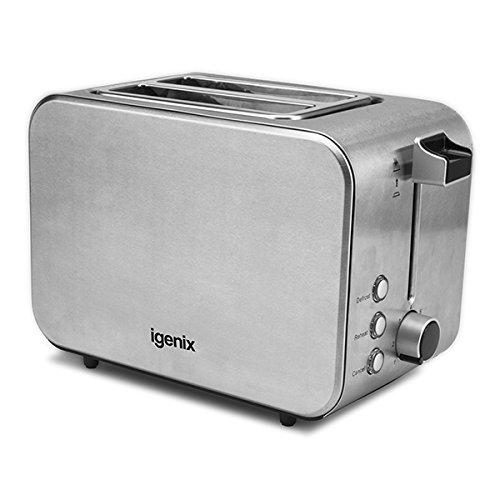 Igenix IG3202 Slice Toaster with Illuminating Blue Lights - Brushed/Polished Stainless Steel