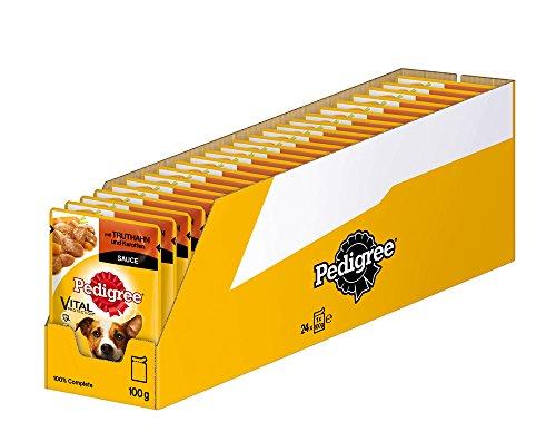 Pedigree Vital Protection Hundenassfutter im Beutel – Hundefutter in Sauce mit Truthahn & Karotten in Sauce – 24 x 100g Großpackung