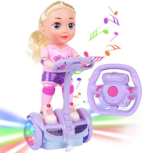 Doll Set with Remote Control Toy Electric Scooter for Kids with LED Lights Music and 360° Rotation