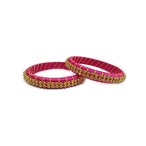Yuktha Fancy Silk Thread Bangle Collection for Girls, Womens - Set of 2 Bangles (2.6 Inches) (Pink)