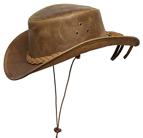 BRANDSLOCK Cowboy Hat Leather Outback Sun Hat with Chin Cord (Tan, M)