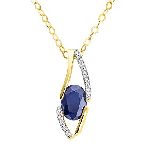 Damen-colgante Miore puiido ({750}) collar de{18} oro con zafiro brillante de 45 cm azul corte ovalado crotalo - MH8019N
