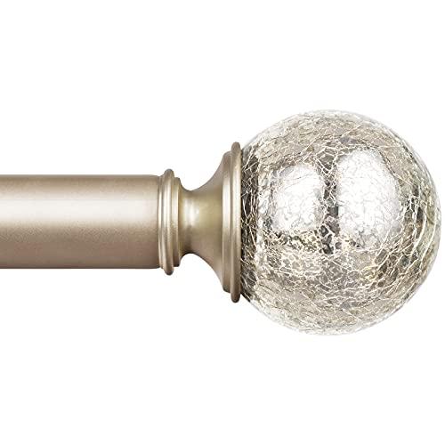 KAMANINA 1 Inch Curtain Rod Single Window Rod 72-144 Inches (6-12 Feet), Crackle Glass Finials, Champagne Gold Drapery Rod