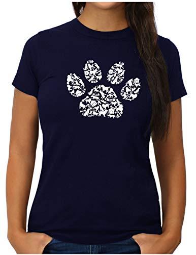 OM3® Dog Paws T-Shirt | Damen | Hundepfote Verschiedene Hunde Rassen | XL, Navy