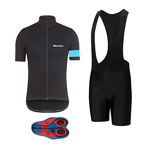 Moxilyn Men's Bike Clothing Set Cycling Jerseys Road Bicycle Shirts Kit + Bib Shorts Quick-Dry Full Zipper Riding Clothes, C36-11, X-Large