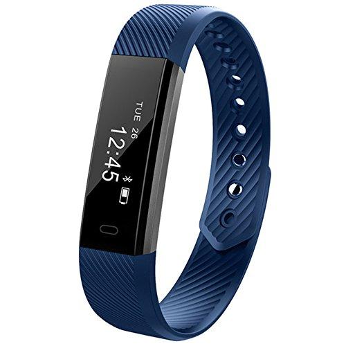 ID115 Braccialetto di vibrazione sveglia della fascia del monitor di attività del contatore di attività del braccialetto astuto di impulso per il telefono di androide (Blu)