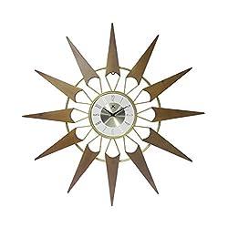 Infinity Instruments Nova Starburst Gold Wall Clock Vintage Mid Century Starburst Clock 31 inch Extra Large 50s 60s Mid Century Modern Decor Wall Hanging Sunburst Clock