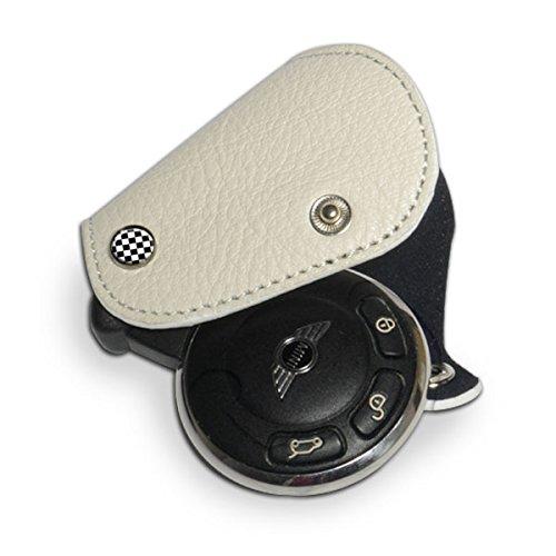 GoBadges Llavero de Piel Blanca con Microfibra Negra para Mini Cooper, Checker, Blanco