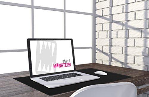 Silent Monsters Mauspad Größe XXL (900 x 400 mm) Mousepad Groß Design: Schwarz - Vernähter Rand geeignet für Office und Gaming Maus sowie Tastatur