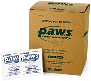 #34400 Safetec p.a.w.s. Antimicrobial Hand Wipes (100 pouches per box / 10 boxes per case)