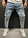 ShZyywrl Pantalones De Mezclilla Skinny Slim Fit Hombres Slim Stretch Jeans Streetwear Ripped Jeans Homme Hip Hop Broken Male Pencil Pantalones Patch Jogger St