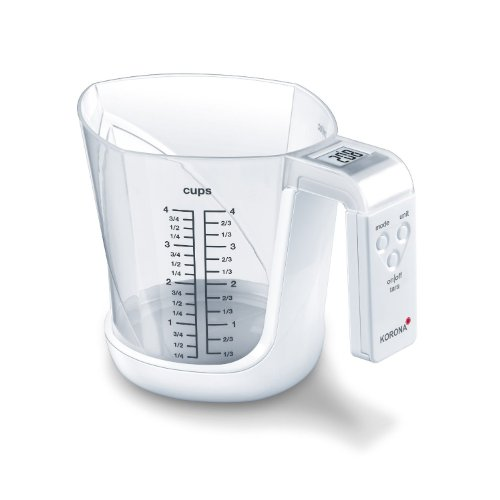 Korona 75877 Messbecherwaage MIA | Tragkraft 3kg, Einteilung 1 g | inkl. Messbecher 1, 0 L | gut ablesbares LCD Display | Tara-Zuwiegefunktion | Batterie inklusive