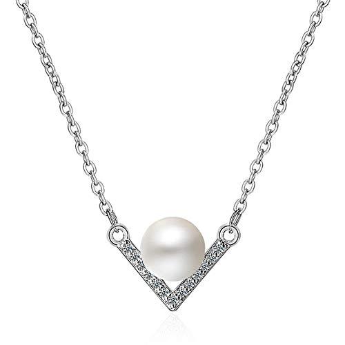 Daoyuan Vförmige Zirkonia Perle Anhänger Halsketten Silber Schlüsselbein Kette Halsketten Für Frauen Mädchen Mode Hochzeit Schmuck Geschenke,Silber