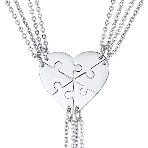U7 Collares para Mejores Amigas Puzzle Conjuntos de 6 Unidades Collar de corazón Collar Moderno para Familia Regalo para Año Nuevo