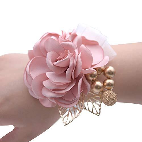 Limeo Corpetto Polso Fiore Rosa Corsage da Polso Fiore da Polso Polso Fiore Fiore da Polso di Damigella d'Onore Bracciale Fiori a Mano Matrimonio Polso Corpetto Corpetto da Polso da Sposa