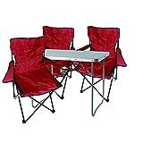 Mojawo 4tlg. Campingmöbel Set Alu 80x60x68cm 1x XL Campingtisch mit Tragegriff + 3 Anglerstühle, Faltstühle Campingstühle rot
