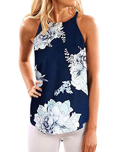 YOINS - Camiseta de tirantes para mujer, cuello alto, estampado de hojas al azar, de gasa 09. 36-38