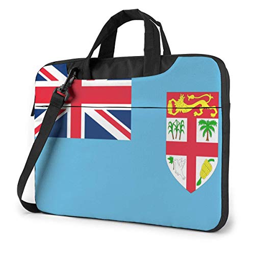 15.6″Lightweight Laptop Notebook Shoulder Backpack Bag Flag of The Fiji Islands Waterproof PC Briefcase Messenger with Strap