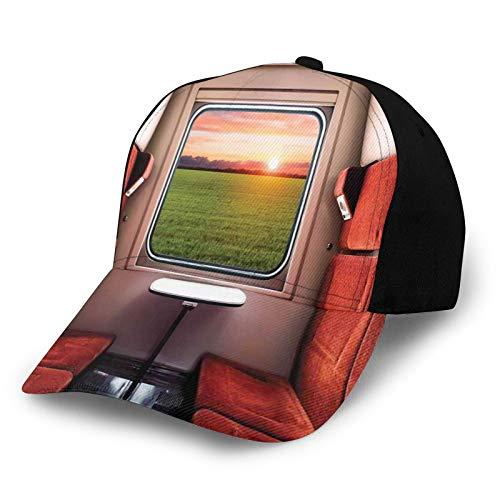 FULIYA Unisex curvo borde béisbol Cap naturaleza fresca ajuste de tren compartimento ventana ferrocarril destino viaje poliéster tela tela papá sombrero béisbol gorra