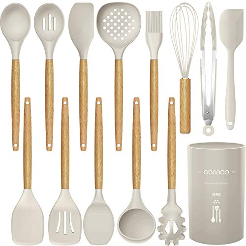 14 Pcs Silicone Cooking Utensils Kitchen Utensil Set - 446°F Heat Resistant,Turner Tongs,Spatula,Spoon,Brush,Whisk. Wooden Handles Khaki Kitchen Gadgets Tools Set for Non-stick Cookware (BPA Free)