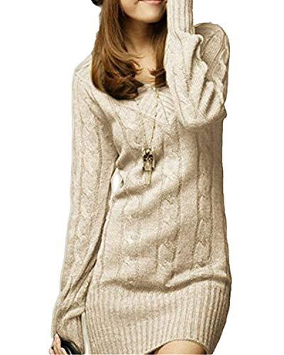 Vestido De Punto Mujer Elegantes Vintage Otoño Invierno Jersey Largo Manga Larga Mode De Marca V Cuello Casuales Grueso Slim Fit Termica Color Sólido Suéter De Punto Sweater Jerseys