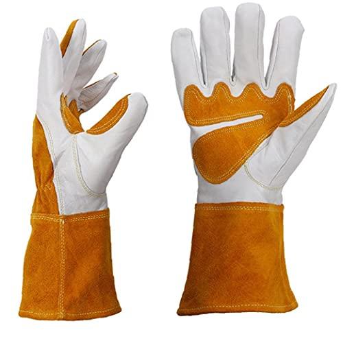 Transpirable de piel de oveja de concordancia de color jardinería mano mangas mano protectora Soldador Manguitos mano Amarillo XL de trabajo