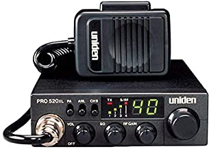 Uniden PRO520XL Pro Series 40-Channel CB Radio. Compact Design. ANL Switch and PA/CB Switch. 7 Watts of Audio Output and Instant Emergency Channel 9. - Black
