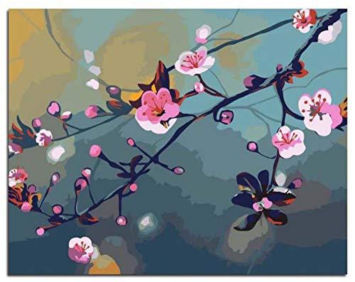 DIY olieverfschilderij door cijfers Kits Thema Digitale Schilderij Roze Perzik Bloesem Canvas Gift voor Volwassenen Kinderen Verjaardag Bruiloft Nieuwe Accommodatie of Kerst Decoraties