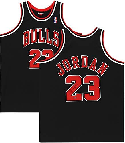 Michael Jordan Chicago Bulls Autographed 1997-1998 Mitchell & Ness Black Jersey - Upper Deck - Autographed NBA Jerseys