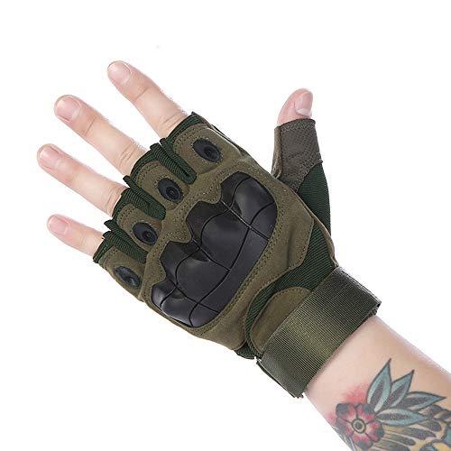 JF-Protective Gear-1118 Schutzbekleidung Fingerlose Mountainbike-Mesh-Handschuhe for Männer, Frauen, Jungen mit vollem Daumen, halber Finger, perfekt for den Sport JFCUICAN (Color : Grün, Size : M)