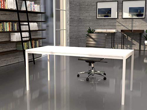 Mesa de oficina con estructura perimetral, de 140x80cm. FABRICACIÓN NACIONAL. Entrega de 3 a 5 dias. (TABLERO BLANCO, ESTRUCTURA BLANCO)