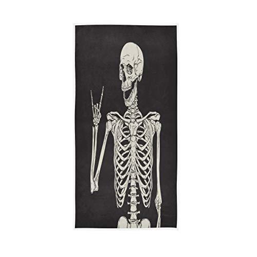 N/E RXYY Handtücher, Baumwolle, lustig, menschlicher Totenkopf, schwarz, weiches Handtuch, Mehrzweck-Badetuch für Zuhause, Küche, Schwimmen, Spa, Fitnessstudio, 76,2 x 38,1 cm