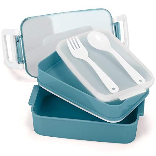 COM-FOUR® Fiambrera en azul con cubiertos y 2 compartimentos separado