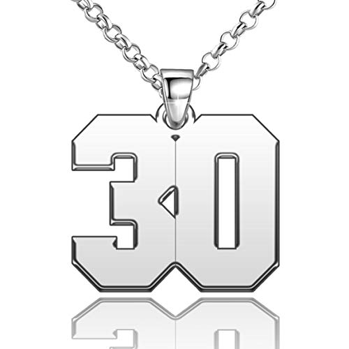 LoEnMe Jewelry Silver Plated 30 Number Necklace Personalized Women Custom Watch Native Shaped Chain Back, 0.7 inch
