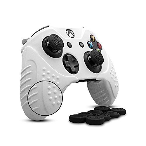 CHIN FAI per Xbox One/Xbox One s/Xbox One X Controller Skin, Custodia Antiscivolo in Silicone Custodia Microsoft Controller con 8 x Thumb Stick Grip Caps (Bianco)