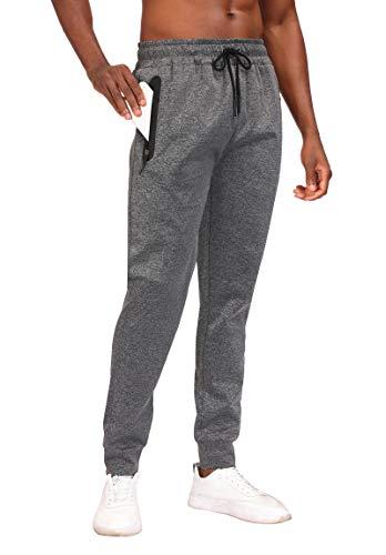AIRAVATA Joggers for Men Zipper Pockets Grey Sweatpants Joggers Running Pants Active Pants with Pockets for Running Jogging Gym Lounge - Grey M
