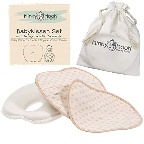 Babykissen gegen Plattkopf aus BIO-BAUMWOLLE von Minky Mooh® - Inkl. 2 Bezügen | Ergonomisches Memory Foam Lagerungskissen für natürliche Kopfform und Vermeidung von Kopfverformung (Baby Kissen)