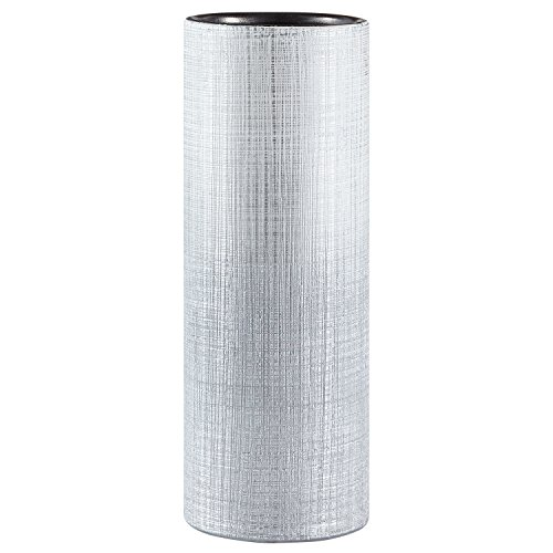 Amazon Brand – Rivet Rustic Stoneware Indoor Outdoor Flower Plant Home Decor Tall Cylinder Vase, 11'H, Silver